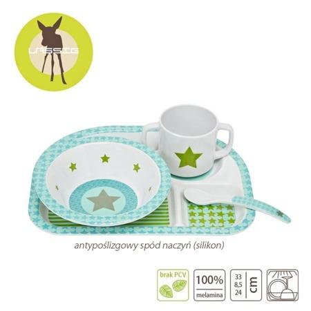 Komplet naczyń z melaminy dla dzieci - zestaw Starlight olive, Lassig