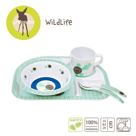 Komplet naczyń z melaminy dla dzieci - zestaw Wildlife Żółw (bez silikonu), Lassig