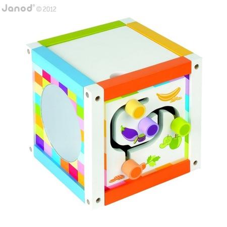 Kostka edukacyjna wielofunkcyjna - kostka z labiryntem, zegarem lustrem i inne, Janod