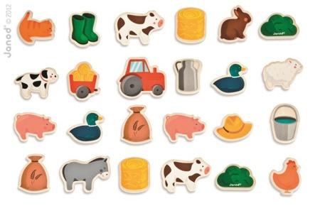 Magnesy drewniane Farma 24 sztuki, Janod - magnesy do przyklejania do dowolnej tablicy magnetycznej
