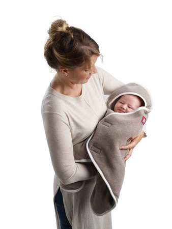 Otulacz rożek, kocyk dla noworodka i niemowlaka Babynomade 0-6m Double Fleece Heather beige /Ecru, Red Castle