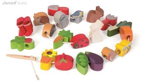Owoce do nawlekania, Janod - drewniana igła do nauki nawlekania oraz kolorowe, drewniane klocki