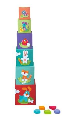 Pudełka  - sortery kształtów, kolorowe pudełka, piramida dla dzieci FARMA, SEVI