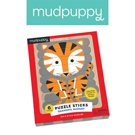 Puzzle Patyczki Geometryczne zwierzęta 24 elementy 3+, Mudpuppy