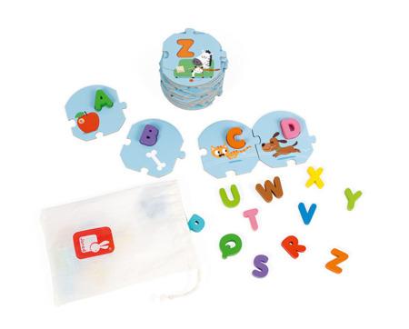 Puzzle Uczę się alfabetu wersja angielska - drewniane literki do dopasowywania 54 el., Janod