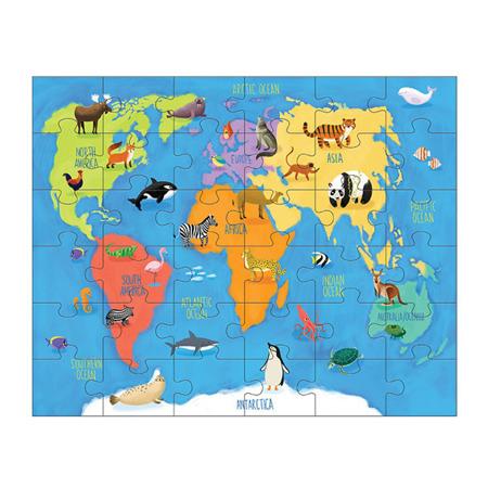 Puzzle Zwierzęta Świata - zestaw mapa świata z 8 figurkami 3+, Mudpuppy MP47694