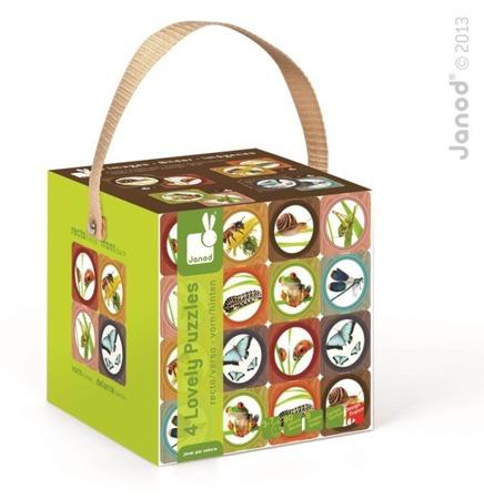 Puzzle dla dzieci 8w1 Ogród Lovely - puzzle z motywami zwierząt ogrodowych (polnych), Janod
