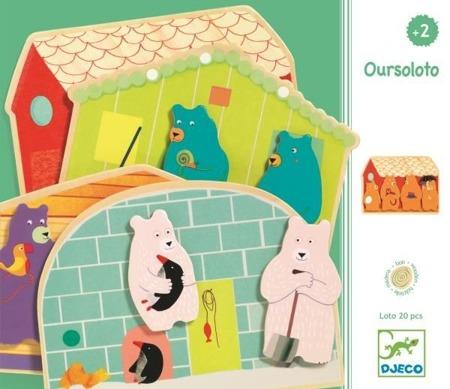 Puzzle drewniane, układanka dla dzieci 2+ OURSOLOTO DJECO