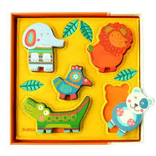 Puzzle drewniano-filcowe Wesoła dżungla - układanka ze zwierzątkami dla najmłodszych, Djeco