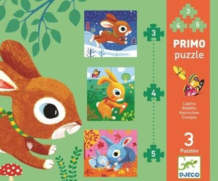 Puzzle ewolucyjne 3 plansze 3,4,5 el. KRÓLIKI, 2 lata +, DJECO DJ07140