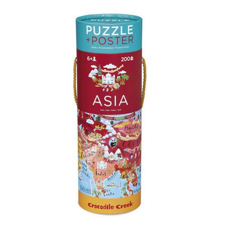 Puzzle mapa Azji - puzzle Azja w twardej tubie, 200 puzzli, Crocodile Creek