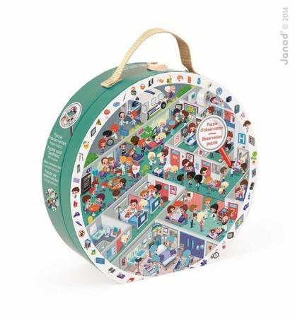 Puzzle obserwacyjne w walizce Szpital, Janod - 208 elementy puzzli w zestawie