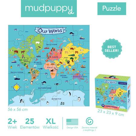 Puzzle podłogowe Jumbo Nasz Świat 25 elementów 2+ - Mapa Świata dla maluchów, Mudpuppy
