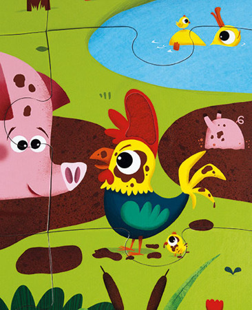 Puzzle sensoryczne 20 elementów Farma - zwierzęta, 3+, Janod