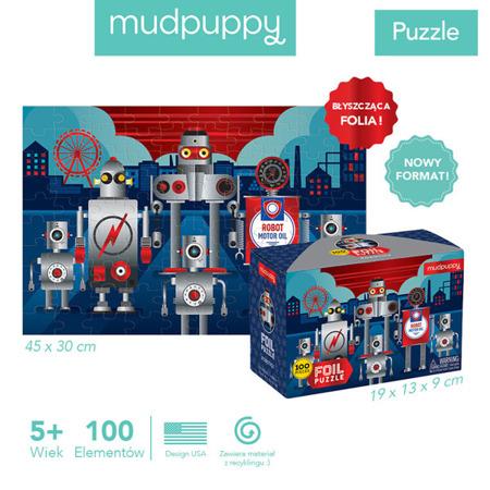 Puzzle z błyszczącą folią Roboty 100 elementów 5+, Mudpuppy