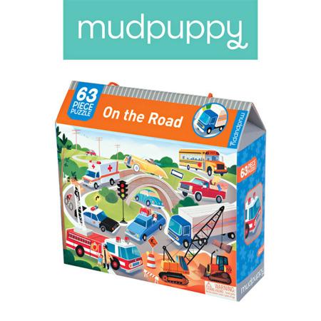 """Puzzle z samochodami, pojazdami, autami - """"Na drodze"""" 63 elementy 4+, Mudpuppy MP45102"""