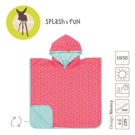 Ręcznik Poncho dla dzieci do kąpieli - ręcznik kąpielowy z kapturem Peach star, Lassig