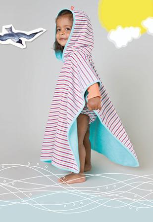 Ręcznik Poncho dla dzieci do kąpieli - ręcznik kąpielowy z kapturem Small stripes, Lassig