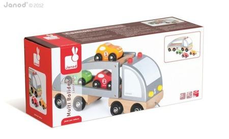 Samochód drewniany - laweta do ciągnięcia + zestaw trzech samochodzików, Janod