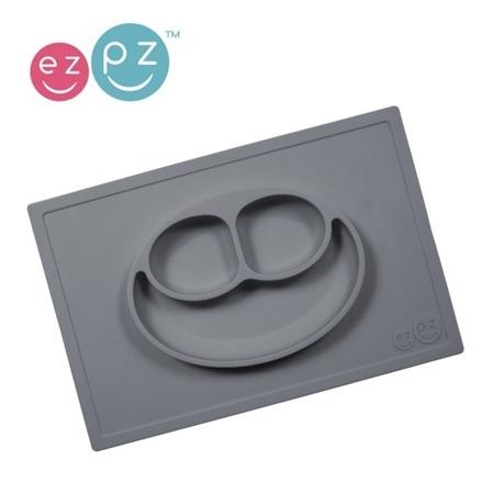 Silikonowy talerzyk dla dzieci z podkładką 2w1 Happy Mat szary, EZPZ