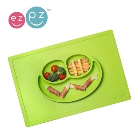 Silikonowy talerzyk dla dzieci z podkładką 2w1 Happy Mat zielony, EZPZ