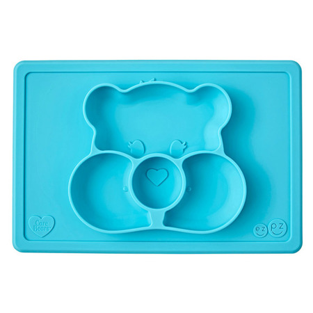Silikonowy talerzyk z podkładką 2w1 Care Bears™ Mat Misia Życzliwe Serce Wish Bear turkusowy, EZPZ
