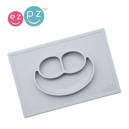 Silikonowy talerzyk z podkładką 2w1 Happy Mat pastelowa szarość, EZPZ EUHMP003