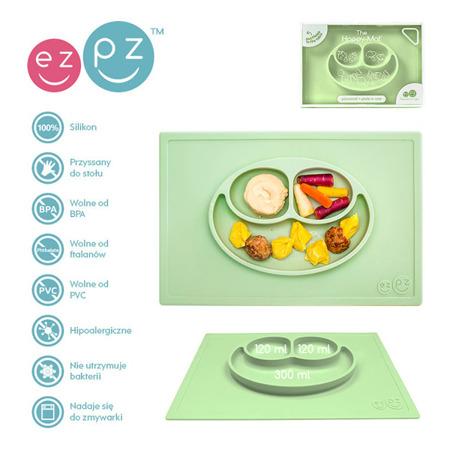 Silikonowy talerzyk z podkładką 2w1 Happy Mat pastelowa zieleń, EZPZ EUHMS001
