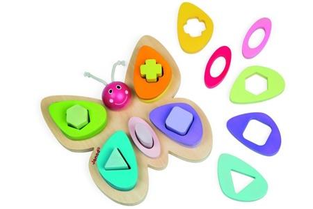 """Sorter kształtów motyl - układanka drewniana """"kształty i kolory"""", pieramida, Janod"""