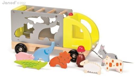 Sorter kształtów samochód drewniany do ciągnięcia, Janod - sorter ze zwierzątkami