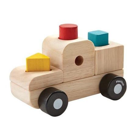 Sorter z figurami w kształcie samochodu - sorter kształtów z klockami, Plan Toys