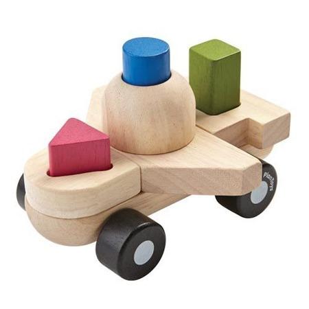 Sorter z figurami w kształcie samolotu - sorter kształtów z klockami, Plan Toys