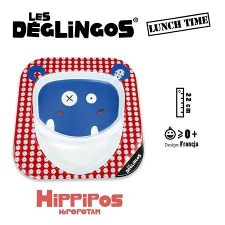 Talerz z melaminy Hipopotam Hippipios - talerz dwudzielny 22cm, Les Deglingos 55117