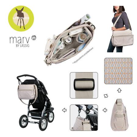 Torba z akcesoriami do wózka dla mamy Shoulder bag Mesh beige, Lassig Marv