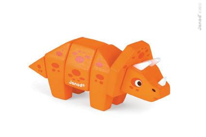 Triceratops drewniany dinozaur do złożenia z 5 klocków, Janod