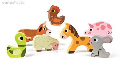 Układanka drewniana 3D Farma - zwierzątka figurki - 7szt., Janod