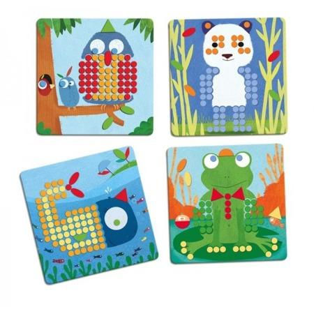 Układanka edukacyjna kolorowe obrazki - Mozaika leśne zwierzęta, 4 lata +, DJECO DJ08136