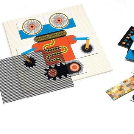 Układanka magnetyczna - optyczna Kinoptik ROBOTY - 60 el. do układania robotów, DJECO DJ05611