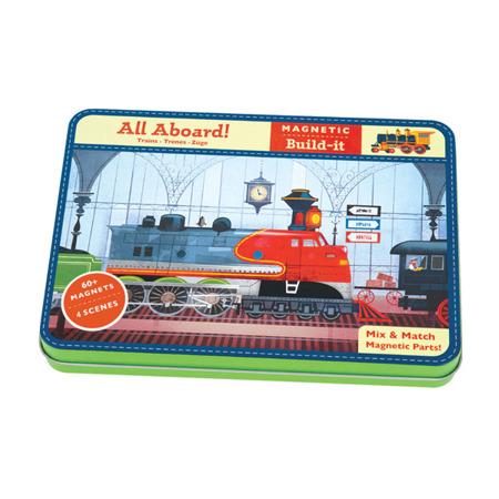 Układanka magnetyczna pociągi, kolej - magnetyczne konstrukcje do układania 6 lat +, Mudpuppy MP39231