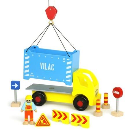 Drewniany TIR z kontenerem + zestaw do budowy VILACITY + figurka robotnika, VILAC