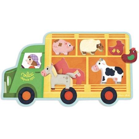 Układanka drewniana FARMA - auto dla zwierząt, zwierzęta wiejskie, 18m+, VILAC