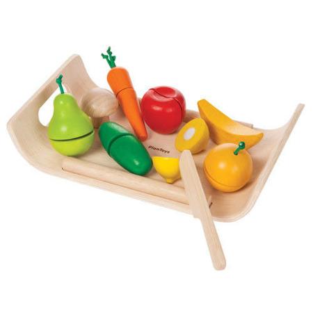 Warzywa i owoce na tacy - drewniany zestaw do krojenia i zabawy, Plan Toys