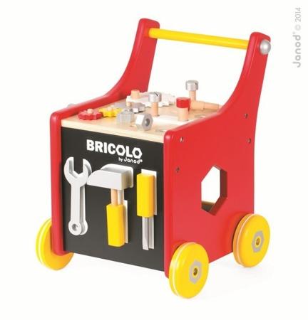 Wózek warsztat magnetyczny z narzędziami Bricolo, Janod - stolik warsztatowy, warsztat  z 25 akcesoriami