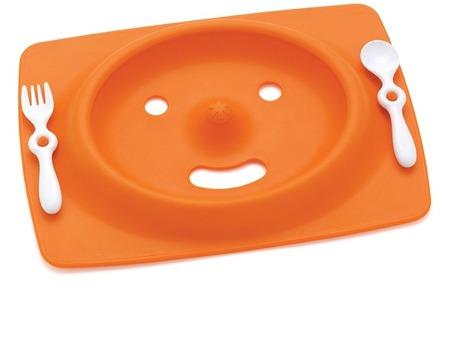 Zestaw do jedzenia - talerz dla dzieci z matą antypoślizgową + widelec i łyżka, Mate Orange, SKIP HOP
