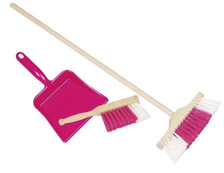 Zestaw do sprzątania, zamiatania dla dzieci różowy - miotła, szufelka i zmiotka dziecięca, GOKI