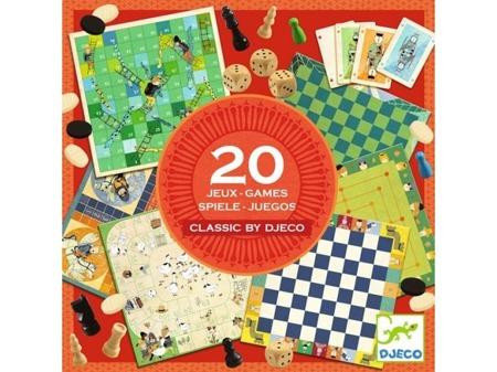 Zestaw gier dla dzieci 20 w 1 - CLASSIC BOX, klasyczne gry planszowe, DJECO DJ05219