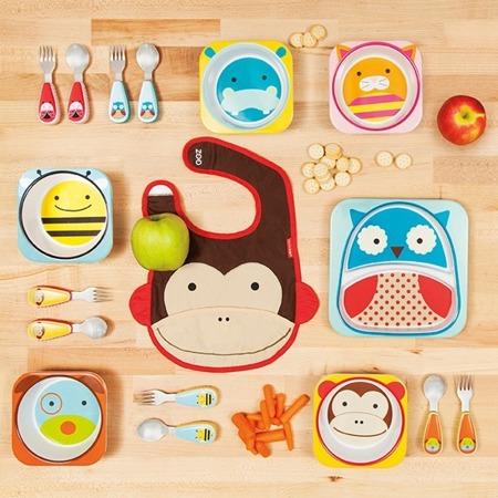 Zestaw jedzeniowy dla dzieci talerz dzielony + miska - naczynia dla maluchów Zoo Biedronka, SKIP HOP