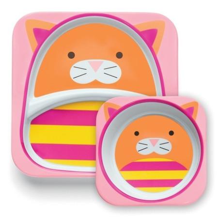 Zestaw jedzeniowy dla dzieci talerz dzielony + miska - naczynia dla maluchów Zoo Kot, SKIP HOP
