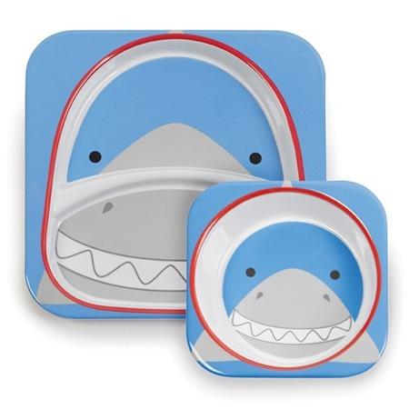 Zestaw jedzeniowy dla dzieci talerz dzielony + miska - naczynia dla maluchów Zoo Rekin, SKIP HOP