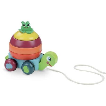 Żółw na sznurku do ciągnięcia - drewniana zabawka do ciągnięcia 2w1, piramida, układanka 18m+, VILAC
